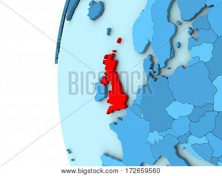 United Kingdom On Blue Globe
