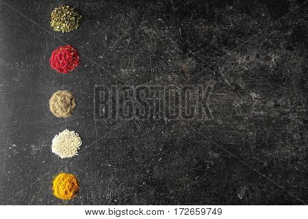Different spices on table, top view