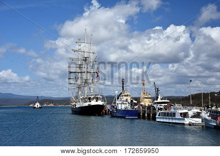 Eden Australia - Jan 6 2017. SV Tenacious at Port of Eden. The STS Tenacious is a modern British wooden sail training ship specially designed to accommodate anyone over 16 with a disability.