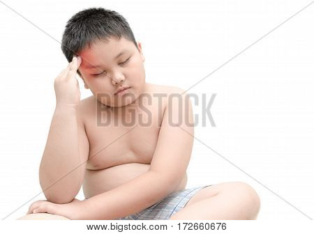 Portrait Of Obese Fat Boy Having A Headache Isolated
