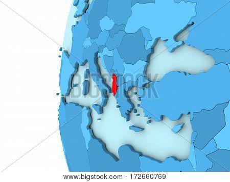 Albania On Blue Globe