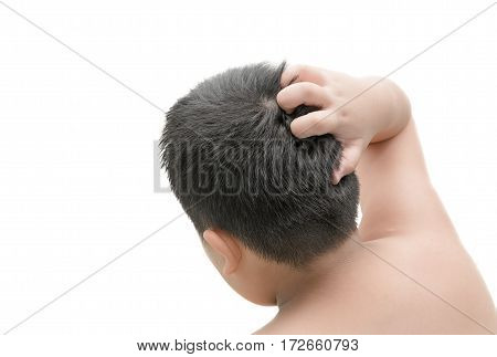 Closeup Boy Hand Itchy Scalp Isolated On White