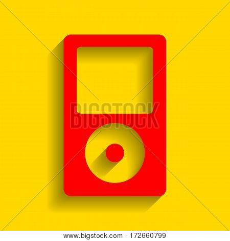 Portable music device. Vector. Red icon with soft shadow on golden background.