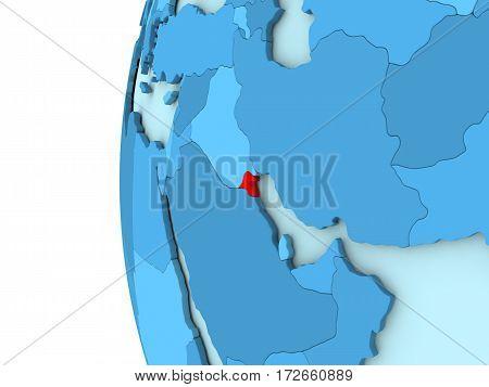 Kuwait On Blue Globe