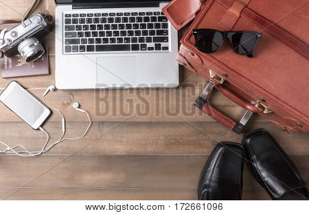 Prepare Accessories And Travel Items For Business Man
