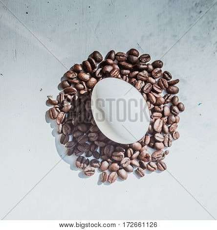 Coffee Beans And Easter Egg, Dyed With Coffee