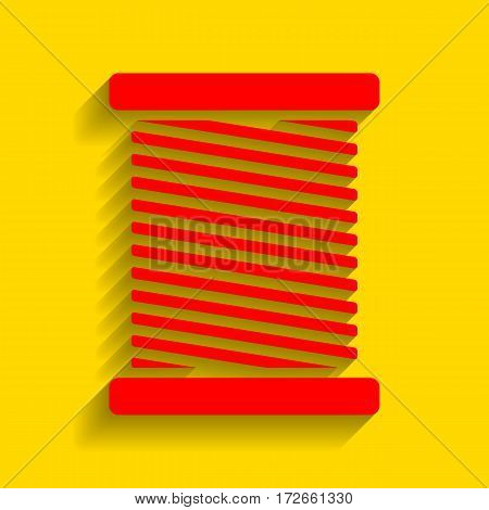 Thread sign illustration. Vector. Red icon with soft shadow on golden background.
