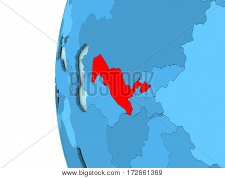Uzbekistan On Blue Globe