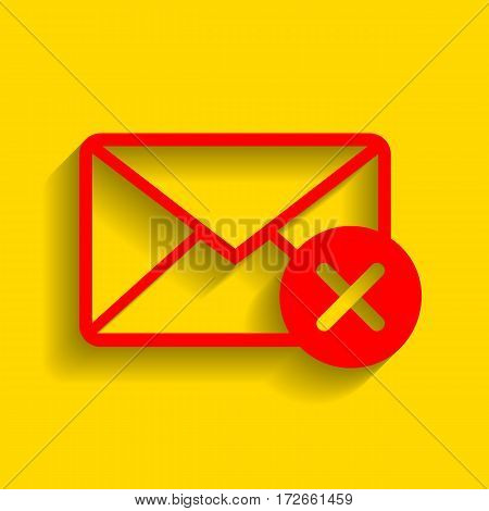 Mail sign illustration with cacel mark. Vector. Red icon with soft shadow on golden background.