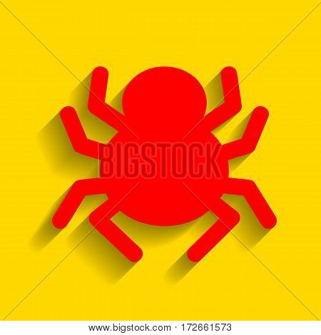 Spider sign illustration. Vector. Red icon with soft shadow on golden background.