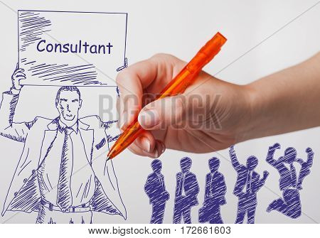 Business, Technology, Internet And Networking Concept. The Girl Draws A Pen Businessman With A Poste