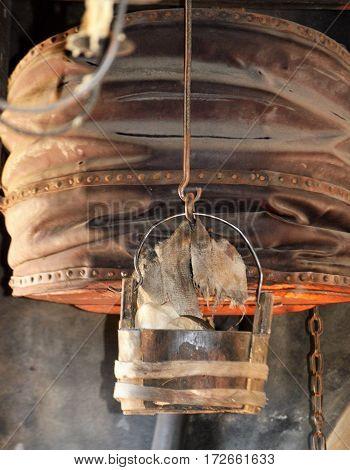 vertical shot of upper chamber blacksmith bellow
