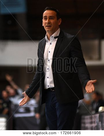 KAPOSVAR, HUNGARY - FEBRUARY 4: Adam Fekete (Kaposvar trainer) in action at Hungarian Championship basketball game with Kaposvar (white) vs. Pecsi VSK (black) on February 4, 2017 in Kaposvar, Hungary.