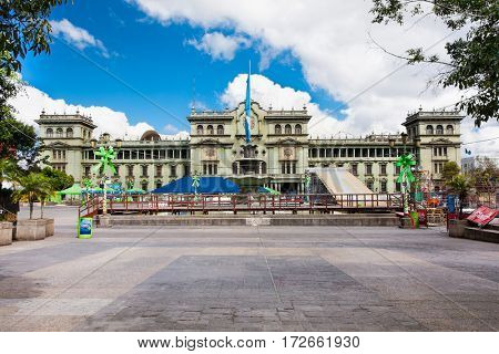 GUATEMALA CITY, GUATEMALA-DEC 25, 2015: National Palace of Culture in Guatemala City on Dec 25, 2015, Guatemala. central America.