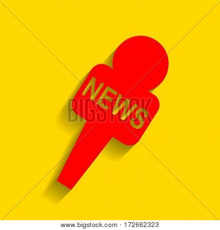 TV news microphone sign illustration. Vector. Red icon with soft shadow on golden background.