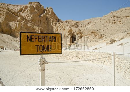 Entrance sign to the magnificent Tomb of Queen Nefertari reopened to visitors in an attempt to attract more tourists to Egypt. Valley of the Queens Luxor Egypt..