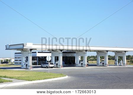 Petrol station in countryside