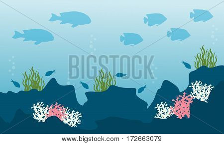 Collection stock of underwater landscape vector art