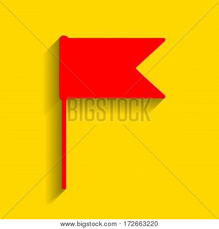 Flag sign illustration. Vector. Red icon with soft shadow on golden background.