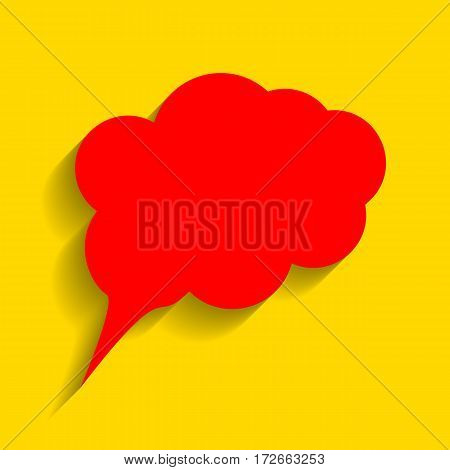 Speach bubble sign illustration. Vector. Red icon with soft shadow on golden background.