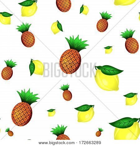 Lemons and pineapples seamless pattern. Good for wallpaper, wrapping papers and texture. Vector illustration.
