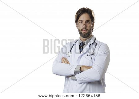Male doctor on a White background .