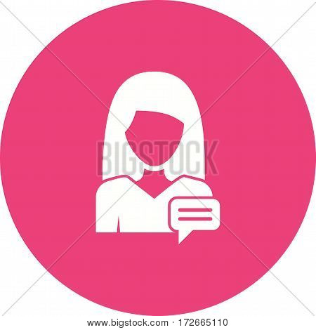Phone, message, women icon vector image. Can also be used for women. Suitable for use on web apps, mobile apps and print media