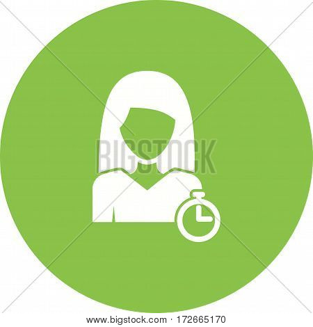 Time, management, woman icon vector image. Can also be used for women. Suitable for mobile apps, web apps and print media.