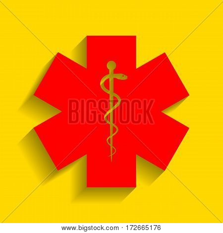 Medical symbol of the Emergency or Star of Life. Vector. Red icon with soft shadow on golden background.