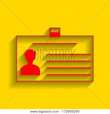 Identification card sign. Vector. Red icon with soft shadow on golden background.