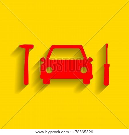 Car tire repair service sign. Vector. Red icon with soft shadow on golden background.