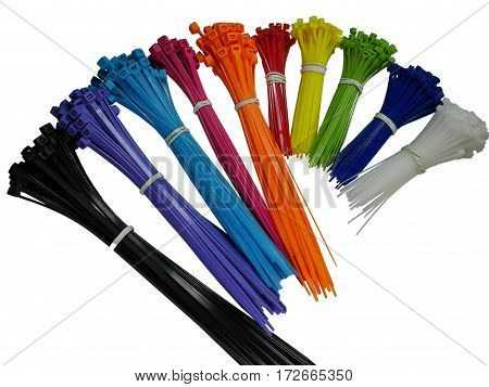 Self-locking plastic tying cables on wooden background and close-up colorful cable ties isolete