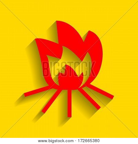 Fire sign. Vector. Red icon with soft shadow on golden background.