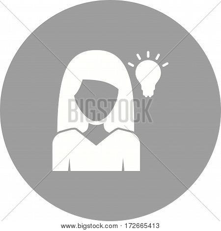 Thinking, woman, business icon vector image. Can also be used for women. Suitable for mobile apps, web apps and print media.