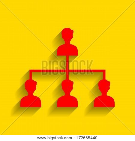 Social media marketing sign. Vector. Red icon with soft shadow on golden background.