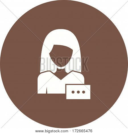 Typing, woman, business icon vector image. Can also be used for women. Suitable for mobile apps, web apps and print media.
