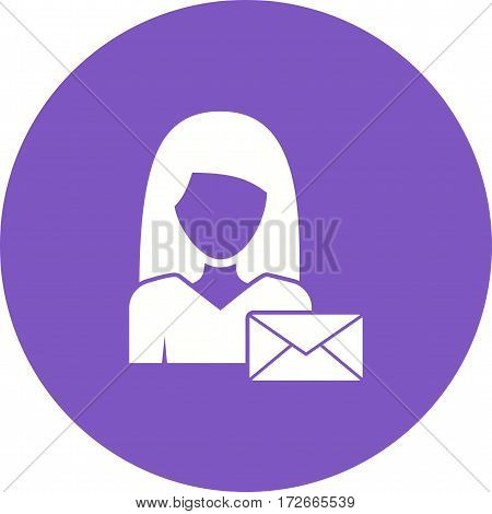 Envelope, woman, business icon vector image. Can also be used for women. Suitable for mobile apps, web apps and print media.