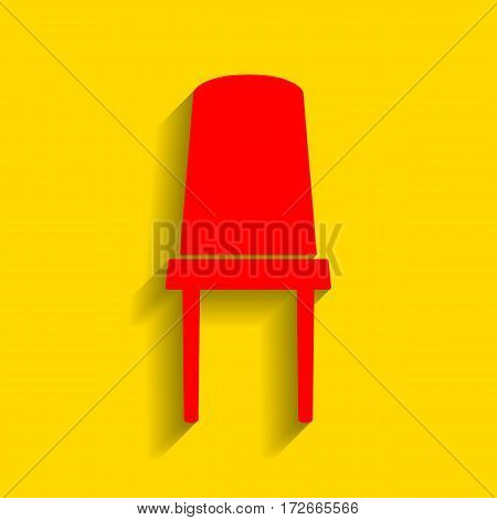 Office chair sign. Vector. Red icon with soft shadow on golden background.