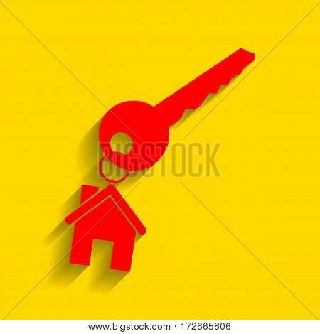 key with keychain as an house sign. Vector. Red icon with soft shadow on golden background.
