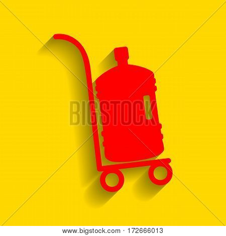 Plastic bottle silhouette with water. Big bottle of water on track. Vector. Red icon with soft shadow on golden background.