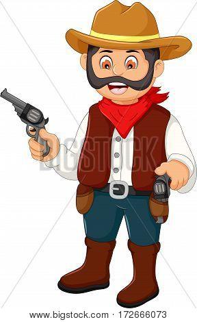 cute cowboy cartoon holding a gun for you design