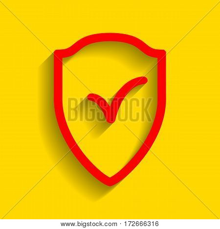 Shield sign as protection and insurance symbol Vector. Red icon with soft shadow on golden background.