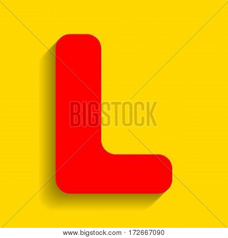 Letter L sign design template element. Vector. Red icon with soft shadow on golden background.