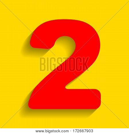 Number 2 sign design template elements. Vector. Red icon with soft shadow on golden background.
