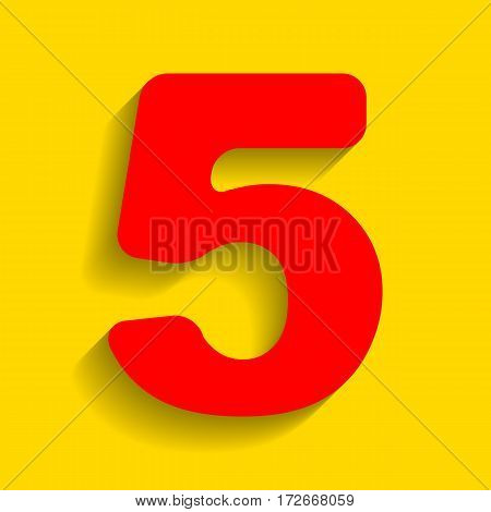 Number 5 sign design template element. Vector. Red icon with soft shadow on golden background.