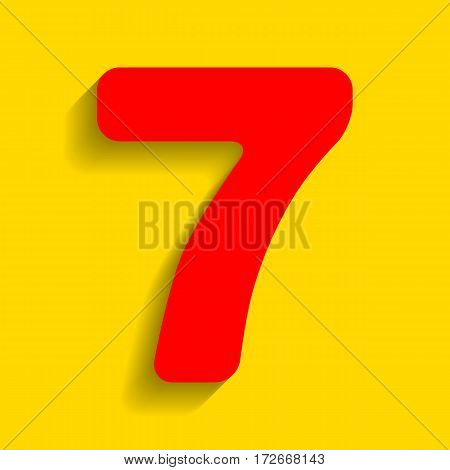 Number 7 sign design template element. Vector. Red icon with soft shadow on golden background.