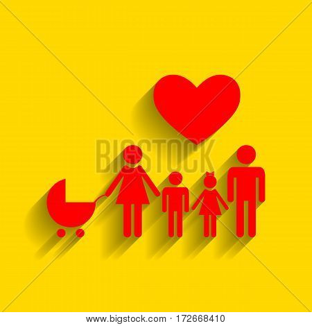 Family sign with heart. Husband and wife are kept children's hands. Vector. Red icon with soft shadow on golden background.