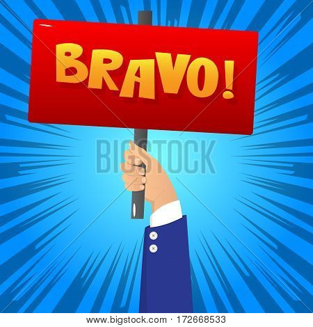 Vector illustrated cartoon hand holding Bravo sign.