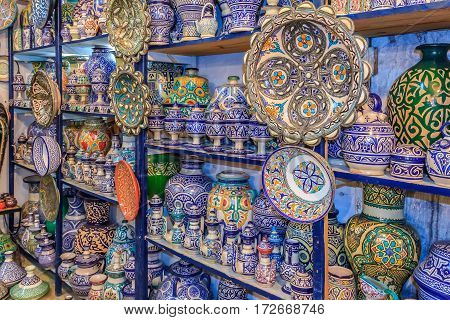 Moroccan Ceramics Handicrafts On Display In A Pottery Shop