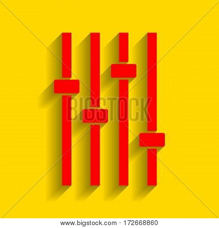 Adjustment music line sign. Vector. Red icon with soft shadow on golden background.